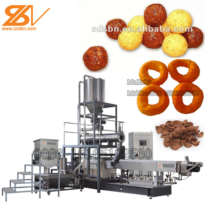 150kg/h Extruded Corn Puffed Snacks Food Production Line