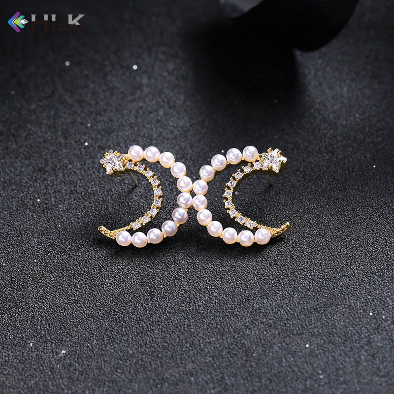6925 in wood jewelry with mirror Pearl and Crystal Moon Stud Earrings