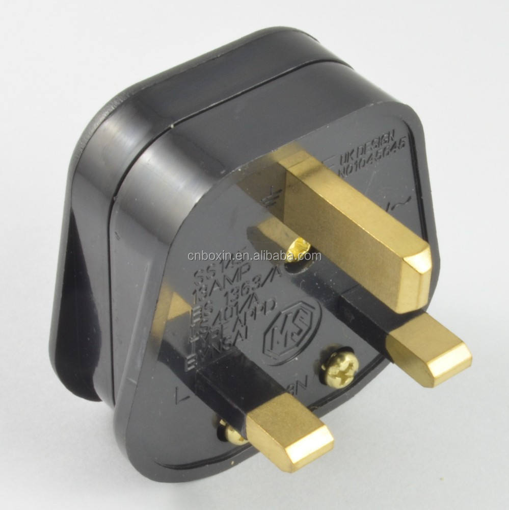 New hot selling products BS UK 3 pin power plug industrial power plug 13A Fuse BS1363 plug top
