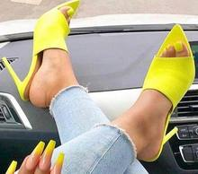 CSS32 2018 new fashion peep toe mules high heel slippers sandals