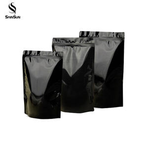 Aluminum Small Zippered Transparent Mylar Mini Retail Tea Black Foil Packaging Pouch Bag