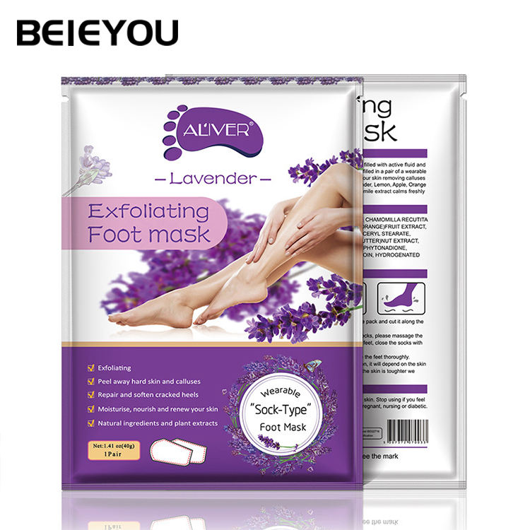 Beieyou Custom Moisturizing Exfoliating Foot Peel Mask Lavender Foot Mask For Dry Heels
