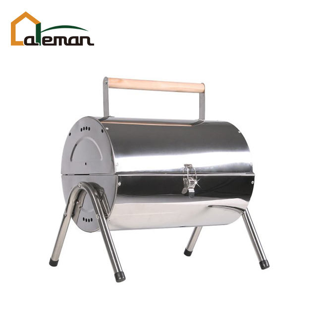 Baril En Acier inoxydable Barbecue à Charbon Double face Barbecue, portable Huile Tambour Style Barbecue w/Double Grille de Gril