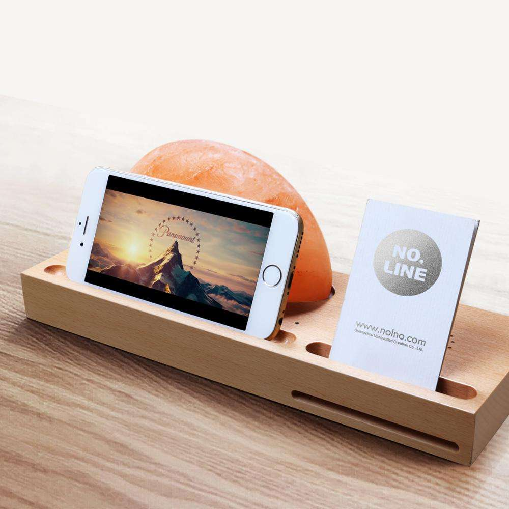 MESUN Himalayan Salt Ambient Lamp with Wireless Charger for Office, Hotel and Bedroom