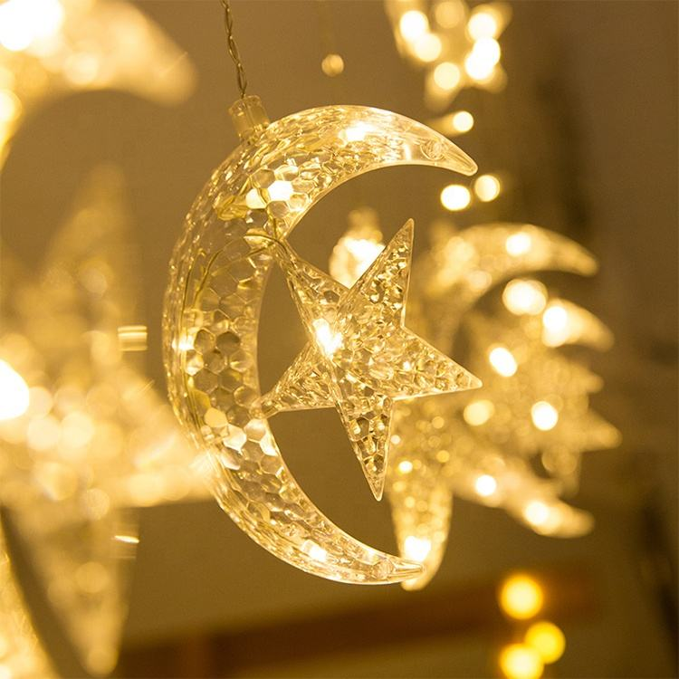 Fairy Ramadan Licht Venster Led Gordijn Star Moon String Licht Voor Kamer Festival Kerst Decoratie