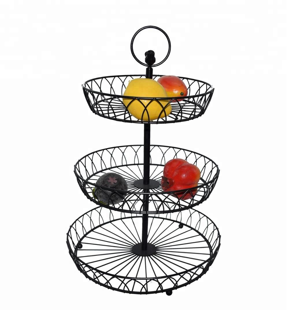 New modern 3 tier round metal wire fruit basket