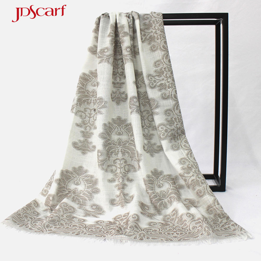 Polyester floral fringe best pashmina shawls to wear with dresses