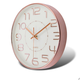 Fashional 3D Numbers Round Modern Rose Gold Non-ticking Custom Plastic Quartz Clock Wall Home Decor