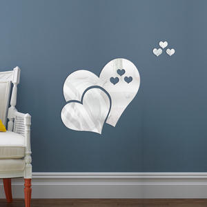 home decor 3d heart shape mirror stickers wall