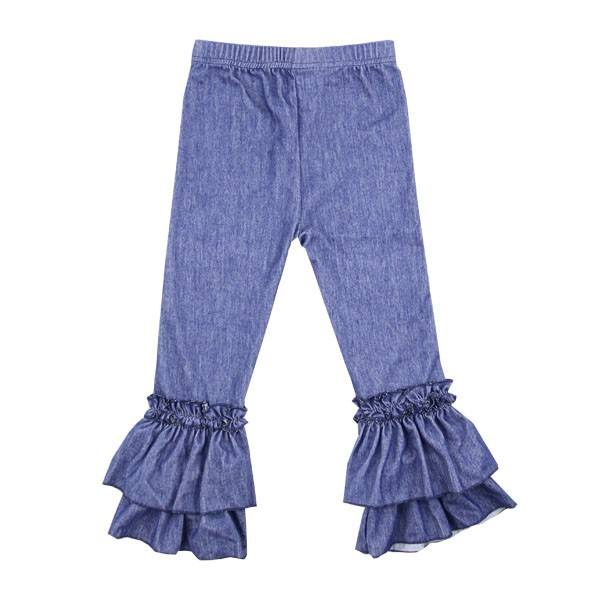 En gros Automne bébé fille pantalon denim blanc double couches à volants glaçage pantalon casual enfants pantalon regular