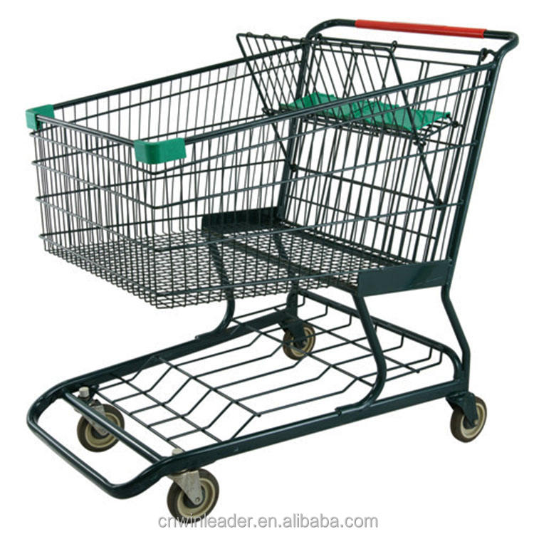 Popular easy-moving metal trolly shopping cart with baby seat