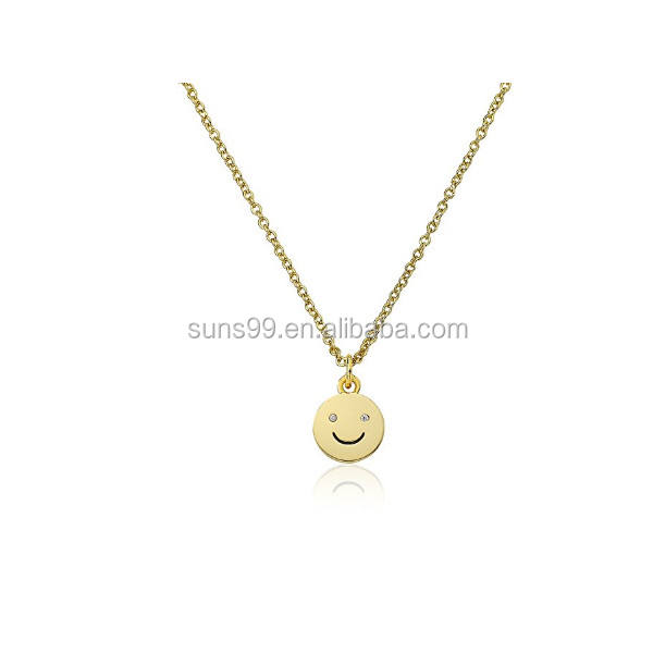Happy Hour 14k Gold-Plated Smiley Face Pendant Accented With CZ's Chain Necklace