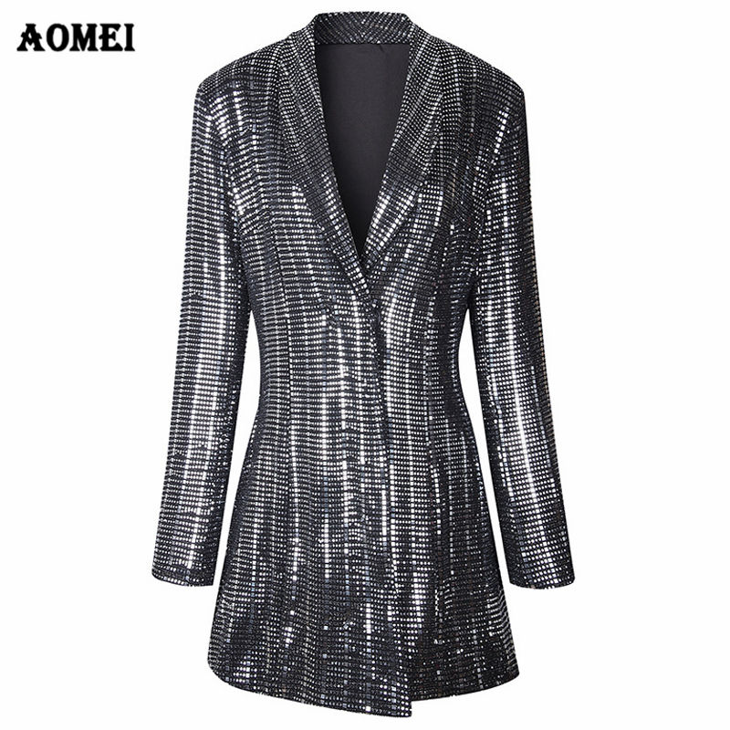 Winter Full Sleeve Business Party Bling Bling Sequin Long Women Suit Tuxedo