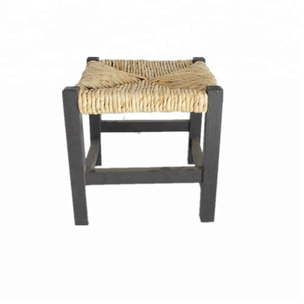 Distressed handmade Rattan Stool Blue Painting Home Camping Foot Stool Chair