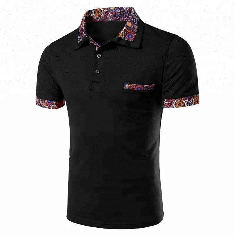 Design Different Floral Collar Cuff Polo T-Shirt For You China Supplier,Top Quality 100% Cotton Polo Tee Shirt With Patch Pocket