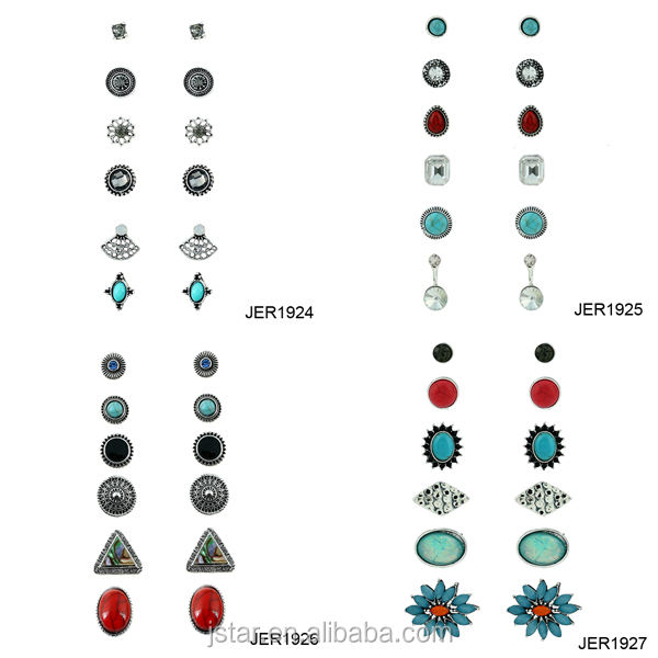 6 pack stud earrings set for women alloy earrings with crystal stone multi earrings