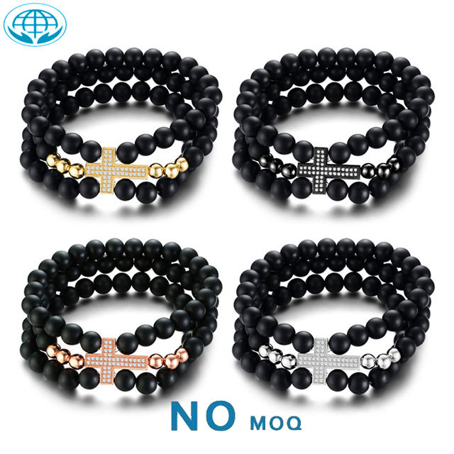 Hot sale carnelian black beads&cubic zirconia inlaid cross high quality bracelet for men