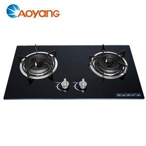 Built-in tempered glass top cooking 2 burner gas stove