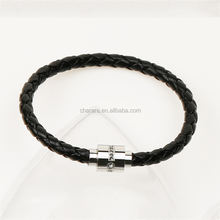 2017 Fashion Men Jewelry Charm Genuine leather Bracelet Stainless Steel Magnetic Buckle Accessories Gay