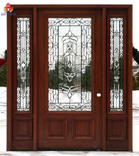 BOMEI factory High Technology Finished Front Wooden Doors with Insert Glass