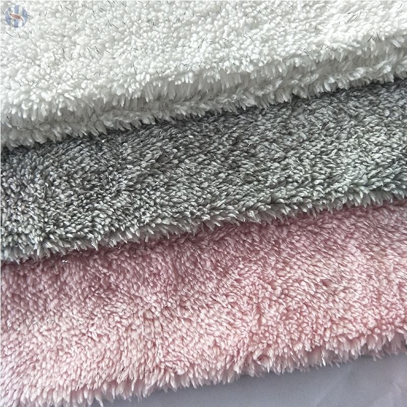 100% polyester micro supersoft peluche argent tissu polaire sherpa