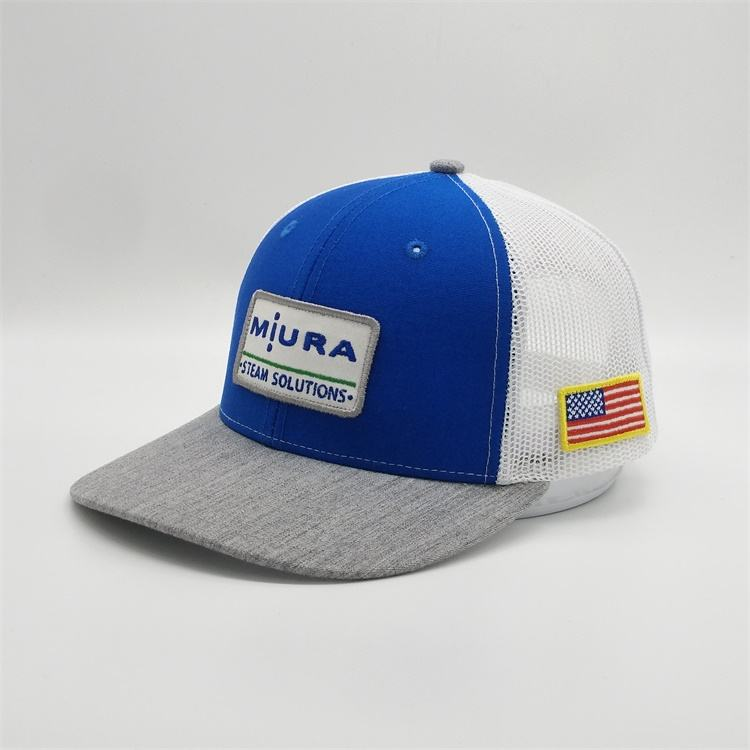 Wholesale Custom 6 Panel Cotton Royal Blue American Flag Patch Mesh Hat Embroidery Trucker Cap