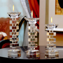 High quality crystal tealight candle holder and crystal  taper candle holder set of 3