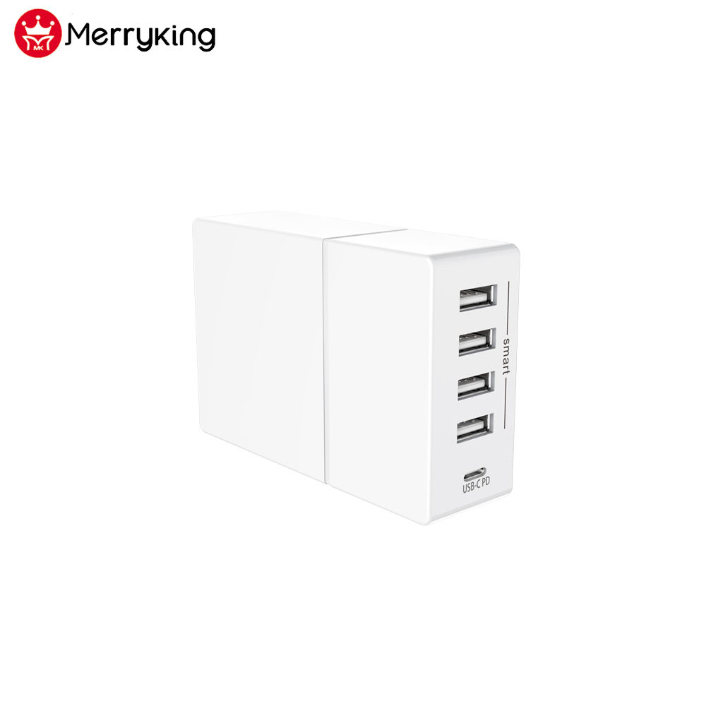 Merryking high quality multi ports 5 USB type c PD power adapter desktop charging station