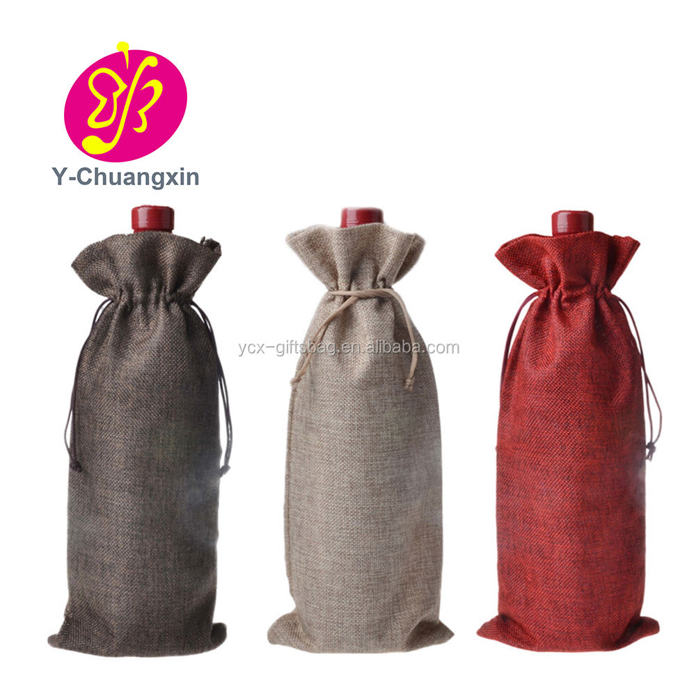 Custom Small Size Drawstring Closure Gunny Bag Jute Burlap wine Bags