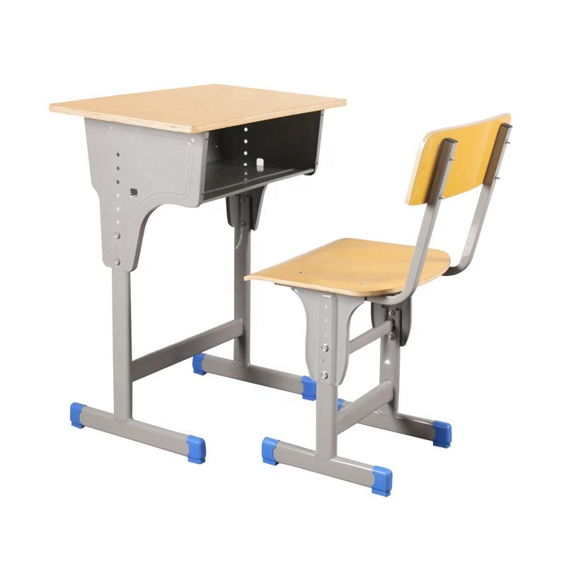 Wooden Cheap school Desk and chair Study Single adjustable Classroom Desk and Chair