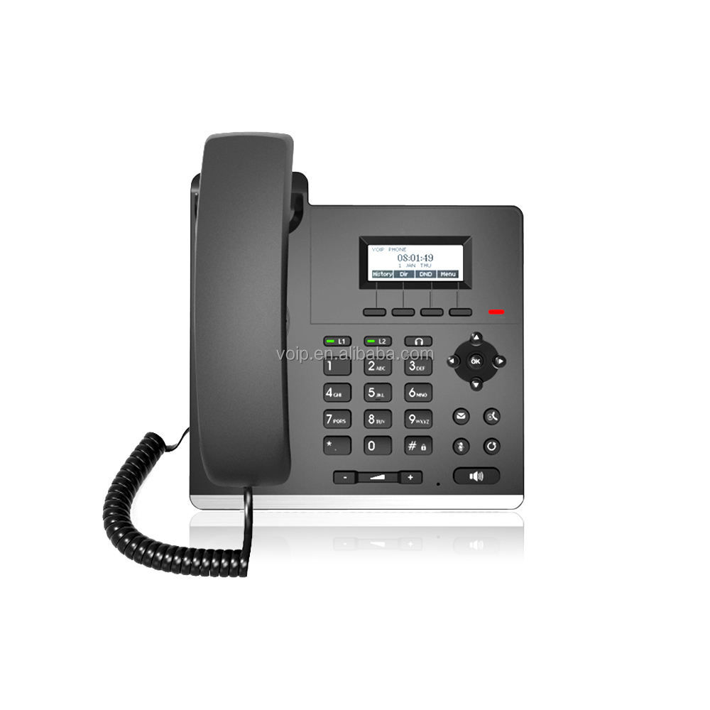 Hot Wholesale Voip Products Cheap IP Phone 2 Sip Lines EthernetのOfficeとFactory Price