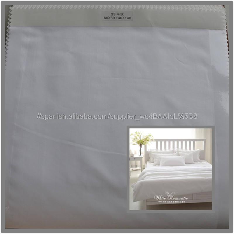 100% algodón de ligamento <span class=keywords><strong>tafetán</strong></span> blanco de la tela para sábanas de hotel en rollos