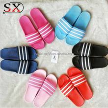 PVC Slide stripe bathroom slipper rubber slide wholesale