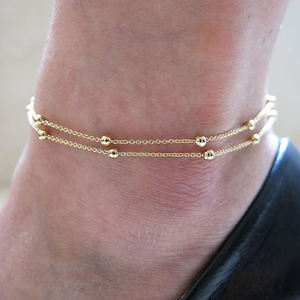 Link chain gold silver beads ankle chains