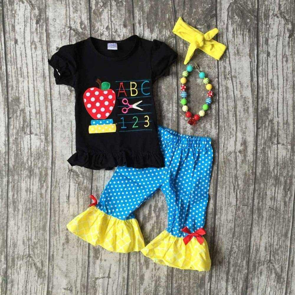 baby girls boutique clothing girls back to school ABC outfits children polka dot capri pants clothes with match accessories