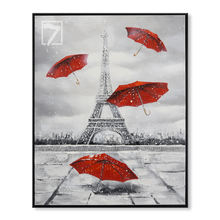Scenery Eiffel Tower and Red Umbrella Oil Painting for Wall Decoration