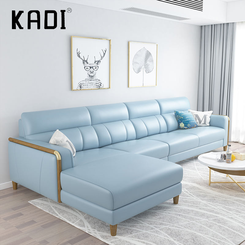 Hotel Furniture Modern Ruang Tamu Kulit Kursi Sofa Set