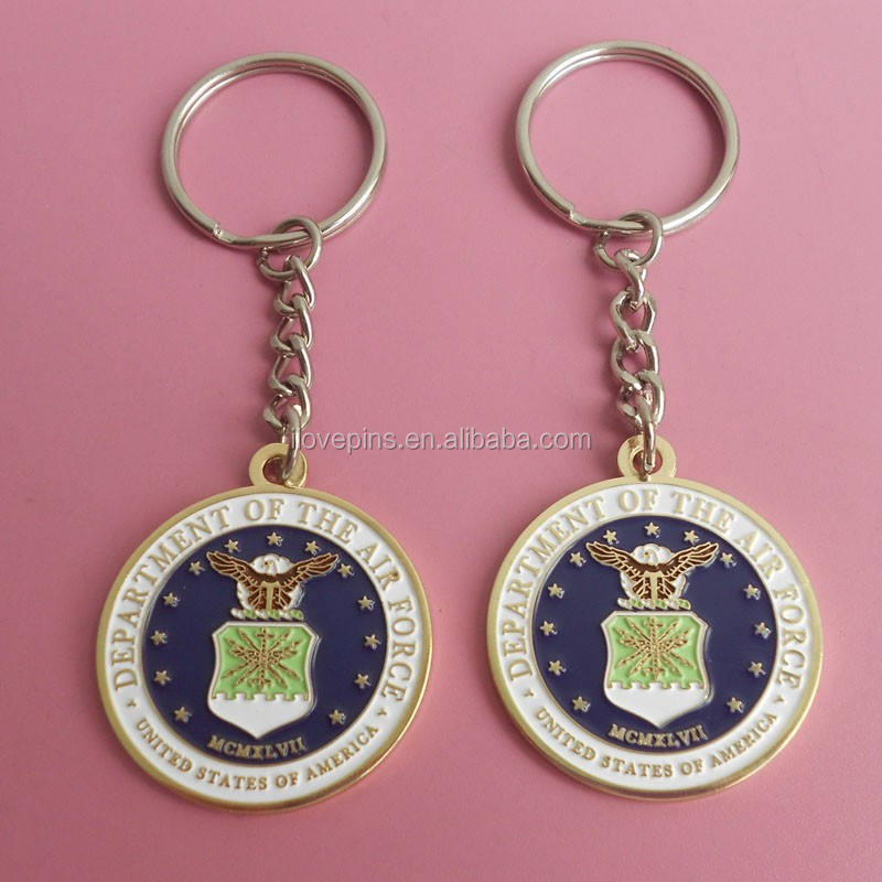 personalized USA airforce metalic paitn keychains round