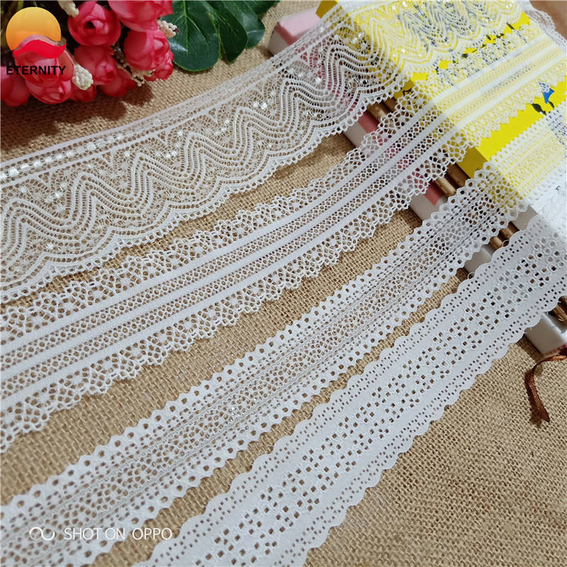3.5-5.5cm S1627 high-quality white elastic lace ribbon, underwear lace band, used for sewing decorative African lace fabric