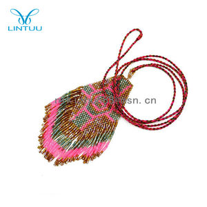 Hot Vogue Handmade Seed Bead Cụm dài Pendant Statement necklace