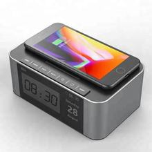 Portable Speaker with Qi Foldable Wireless Charger Pad and Alarm Clock