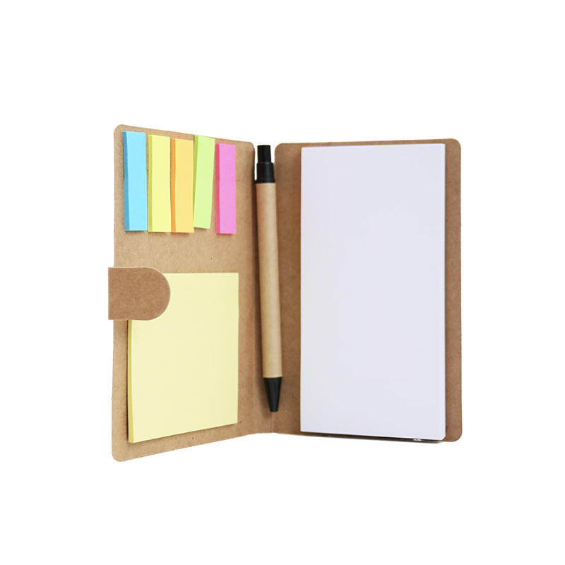 Free sample design custom logo student dairy mini gift set note book and pen with sticky notes