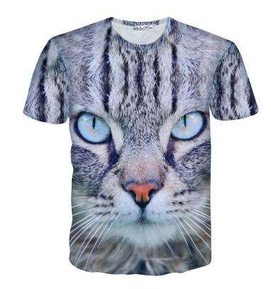 all over full print tee shirt digital printed tiger dog animal 3d t-shirt cheapest promotional animal printed 3d t-shirt