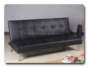 Cheap Living Room Home Black Leather Three Seater Sofa Cum Bed Furniture