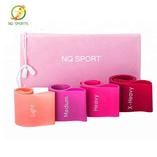 Super Popular Custom Color Fitness Latex Exercise Yoga Workout Resistance Bands pink booty band with Logo