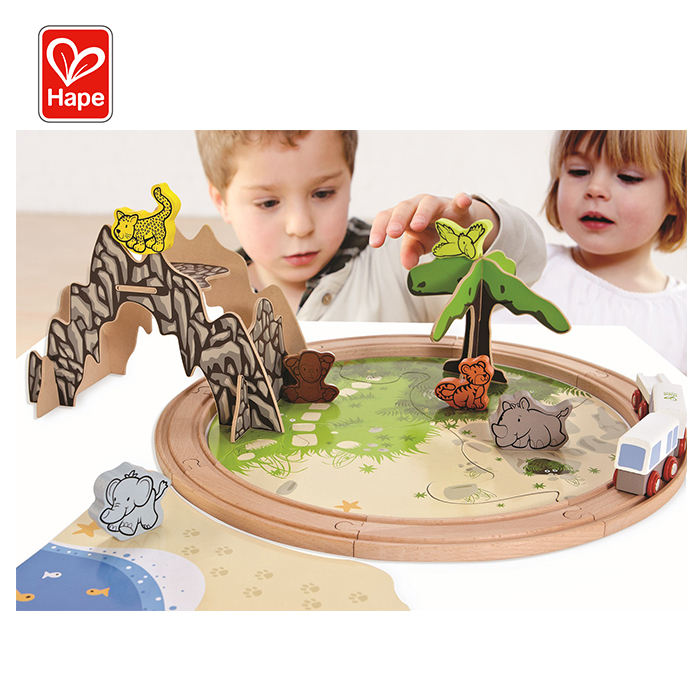 New Design Jungle Safari Style Jigaw Puzzle Wood Train Track Toy Set