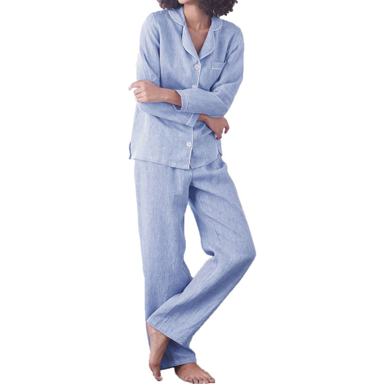 Women's linen cotton yarn dyed soft pajamas chambray sleepwear women turn down collar piped pajamas set