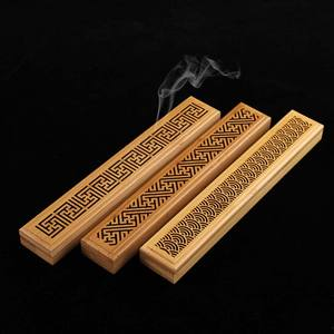 Bamboo Incense Burner Hand Carving Hollow Incense Stick Holder Joss Stick Box Lying Censer for Home Decor Living Room Office