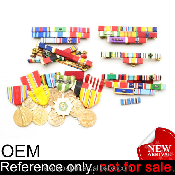 cheap army award custom short ribbon metal military miniature medal