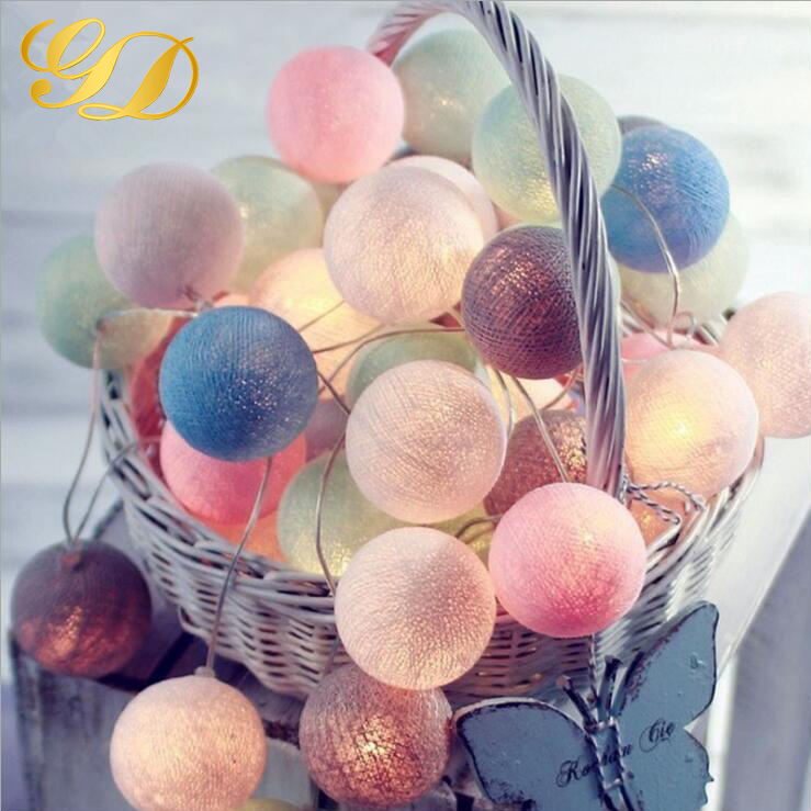Hot Sale Christmas Holiday Name Battery Cotton Ball String Lights